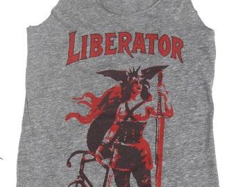 Women's Tank Top, The Liberator, in Racerback Heather Grey