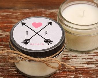 Set of 12 - 4 oz Soy Candle Bridal Shower Favors - Arrow Label Design - Rustic Bridal Shower Favors, Wedding Favors, Arrow Wedding Favors