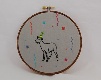 Party Goat Embroidered Hoop Art
