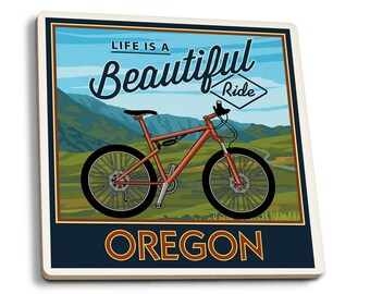 CO - Ride the Trails - Mountain Bike - LP Artwork (Set of 4 Ceramic Coasters)
