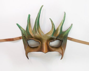 Tree Leather Mask Smaller Size greenman greenwoman forest Entirely Handcrafted very lightweight
