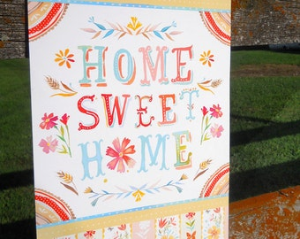 Home Sweet Home art print | Hand Lettered Wall Art | Country Decor