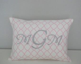 Quatrefoil Pink Personalized Pillow
