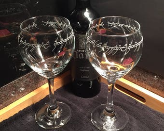 "Two ""One Ring"" Inspired Red Wine Glasses - Lord of the Rings - LOTR - Wine Glasses - Book Club Gift - Wedding Gift Idea - Bridal Shower Gift"