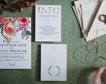 Elegant Floral Watercolor Wedding Invitation Set