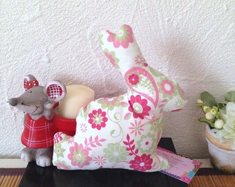 Cuddly plush Bunny spring flowers style Baroque