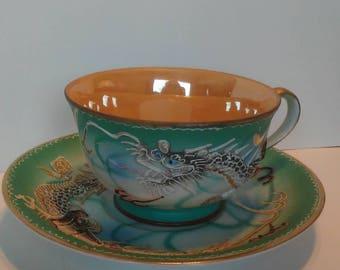 Japanese dragon tea cup set