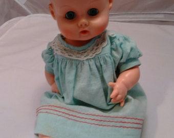 "Vintage Ginny Baby Vogue Doll 15"" Aqua Blue Dress"