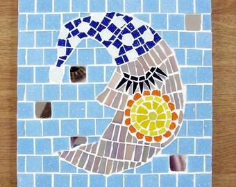 Man in the Moon mosaic coaster