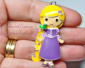 """2"""" Rapunzel With Pasqual Inspired Charm, Tangled Inspired, Chunky Pendant, Keychain, Bookmark, Zipper Pull, Chunky Jewelry, Purse Charm"""