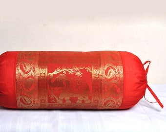 Red Indian Silk Bolster Pillow Cover Elephant Brocade Sofa New