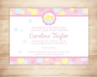Pink Rubber Duck Baby Shower Invitation - Baby Girl Shower - Rubber Ducky Baby Shower Invite - EDITABLE - INSTANT DOWNLOAD