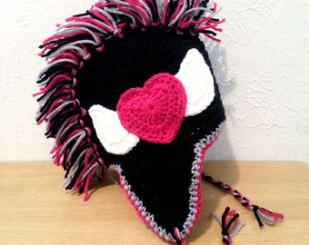Girls Punk Rock Mohawk Hat, Black Crochet Earflap Hat with Pink Heart, Crochet Hat for Toddlers to Women