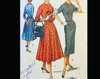 Vintage  50s Pleated Shirtwaist Sheath Dress Wounded Bird Sewing Pattern 3866 B34
