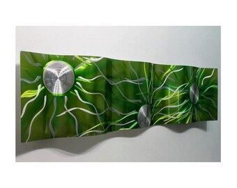 Green & Silver Abstract Metal Art - Wave Decor - Modern Wall Sculpture - Handpainted Wall Hanging - Emerald Green Static Wave by Jon Allen