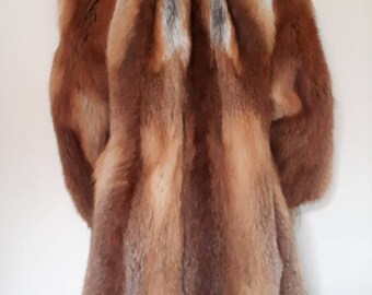 Real Red Fox Fur Coat, Winter Jacket Thick Hairy Fluffy Stroller UK 14 16 18 Large Ginger and White Natural Markings. 3/4 Long Warm