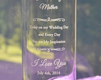 Personalized Engraved Mom's Appreciation Wedding Candleholder/Vase, Custom Special Occasion Thank You Gift - Three Sizes Available (#15)
