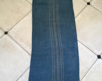 DNS1823 Grey Blue Dyed Vintage Linen Grain Sack with Taupe Stripe Upholstery Fabric Flour Sack for Sewing Projects Bath Mat Pillow Cover