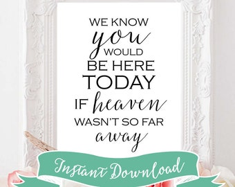 SALE PRINTABLE 8 x 10 We Know You Would Be Here Today If Heaven Wasn't So Far Away Wedding Sign Instant Download. Printable Remembrance Sign