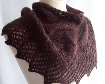 Wool Shawlette, Knit Shawlette, Pure Wool, Black Shawlette, Knitted Scarf, Black Scarf, Wool Scarf, Gift for Her, Birthday Gift