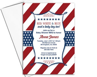 BBQ Baby shower invitation for boy | red white blue baby shower invites | July 4th baby shower invitation | july 4th bbq invite - WLP00782