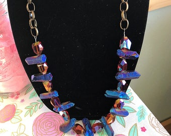 Natural blue quartz Crystal necklace with bronze chain