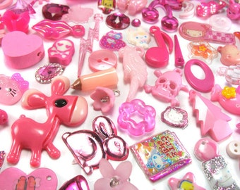 50 Pink Kawaii Charms - Trinkets Grab Bag -Kitsch Charms Mystery Bag- Cute Charms Beads Doodads for DIY Charm Bracelets - Lucky Dip - Pinks