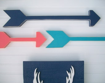 Nursery Arrows . Nursery Arrow Set . Coral . Navy . Teal . Modern Nursery . Tribal Nursery . Boho Baby . Wooden Arrow . Boho Arrow