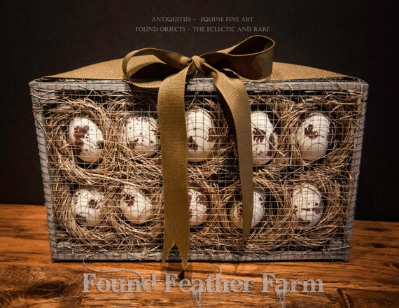 Faux Speckled Bird Eggs in a Wired Wooden Crate with a Golden Grosgrain Ribbon