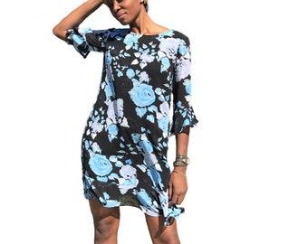 Floral dress for women , Chiffon dress, Blue dress, summer dress, Vintage Style Dress, Women Dress, Short Sleeve dresses/ Summer Dress