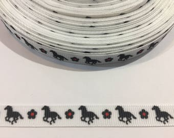 3 Yards of Ribbon 3/8 inch Wide - Horses with Flowers