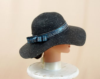 Black Straw Hat, Black and Blue Hat, Black Floppy Hat, Wide Brim Hat, Sun Hat, Summer Hat, Boho Hat, Fashion Hat