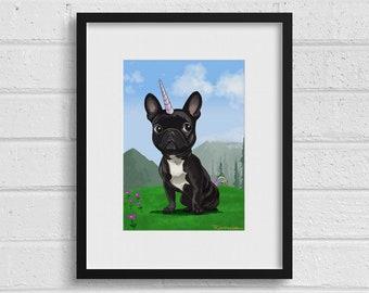 French bulldog unicorn wall decor, French Bulldog Frenchie Dog Art, French bulldog art print, french bulldog gift