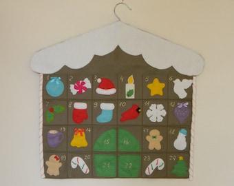 Gingerbread house Advent Calendar,  Felt Advent Calendar,  Christmas Countdown Calendar, pocket countdown, Gingerbread christmas decor