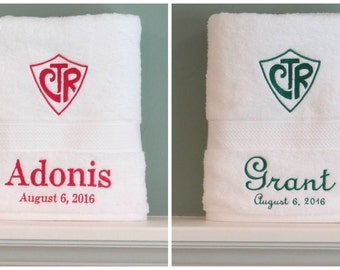 CTR Choose the Right LDS baptism towel personalized