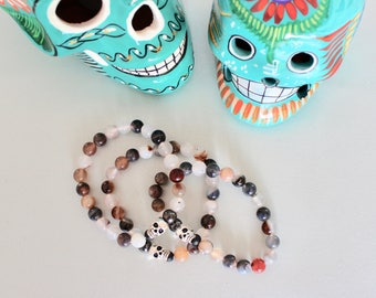 Botswana Agate Skull Gemstone Mala 'Breathe' Bracelet Meditation Yoga Jewelry