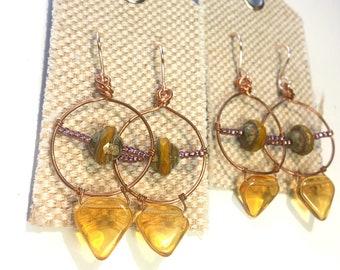 Celestial Bronze Hoop Earrings