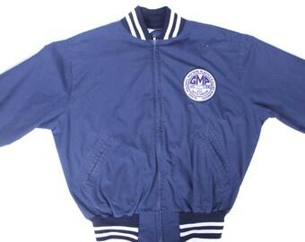 Vintage chaqueta de Atletismo / los hombres de la década de 1980 gran chaqueta azul capa de algodón y poliéster azul chaqueta deportiva /