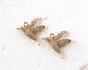 2142 Gold bird charm CZ 17x15mm Cubic zirconia pendant Gold plated charms Jewelry charms Bird pendant Hummingbird charm Gold pendant 1 pc