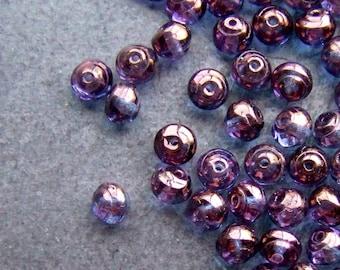 Snail Bead, Glass Bead, Rare Bead, Vintage Bead, Purple Luster, Czech Glass Beads, Small Glass Bead, 6mm, 25 Beads