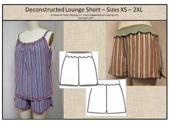 Ladies Jogger Lounge Short -  Size Sizes XS, S, M, L, XL, 2XL - Downloadable Digital PDF Sewing Pattern, Easy Sewing Pattern, Knit Short,