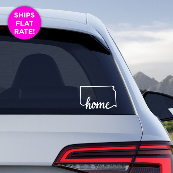 "Kansas State ""Home"" Decal - KS Home Car Vinyl Sticker - Add a heart over Wichita, Overland Park, Kansas City, Topeka, Olathe, Lawrence, Hays"
