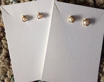 Gold wrapped Pearls Stud Earrings with hypoallergenic backings