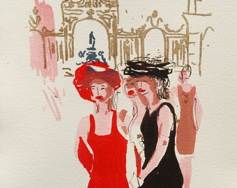 Contemporary lithograph of women Place Stanislas France, original lithograph place Stanislas, lithography of a French city, deco