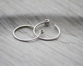 Small Silver Hoop earrings, reverse hoop earrings, silver earrings, modern silver earrings, edgy jewelry, minimalist, hammered hoops
