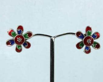 Red, Blue and Green Enamel Daisy Sterling Silver Stud Earrings