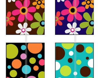 Flowers and Polka Dots - one 4x6 inch digital sheet of scrabble size (0.75 x 0.83 inches) images for scrabble tiles