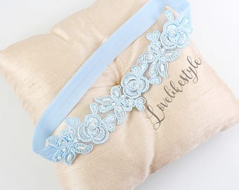 Light Blue Embroidery Flower Lace Wedding Garter, Light Blue Garter Set, Blue Single Garter,Something Blue  / GT-34A