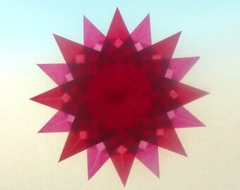 Summer Window Transparency - Pink Red Suncatcher Window Star Decoration - Waldorf Inspired