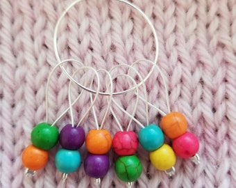 Stitch Markers. Set of 6 Glass beaded markers.